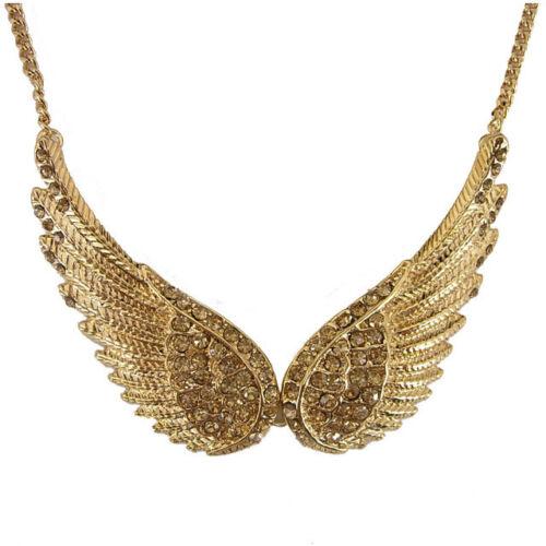 Double 5 cm Big Golden Angel Wing utiliser Autriche Cristal 18K Plaqué Or Collier