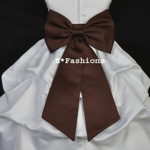 BROWN-SATIN-TIE-BOW-SASH-FOR-PAGEANT-FLOWER-GIRL-DRESS-sz-S-M-L-2-4-6-8-10-12-14