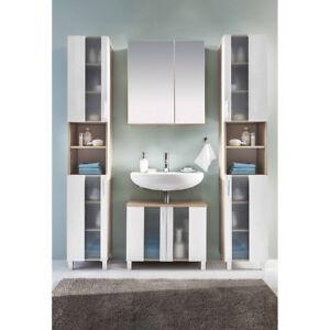 Badezimmer Hochschrank Spiegelschrank Waschbeckenunterschrank Eiche