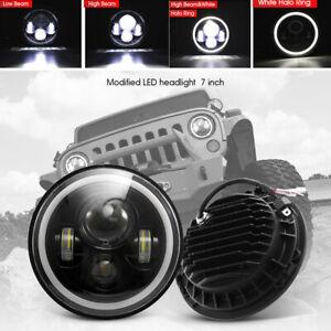 7-034-200w-LED-FARI-anelli-per-luci-di-posizione-h4-h13-per-Jeep-Wrangler-CJ-JK-LJ-2x