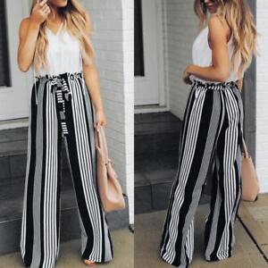 Women-039-s-Ladies-Summer-Wide-Leg-High-Waist-Loose-Striped-Long-Pants-OL-Trousers