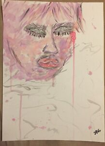 Details About Abstract Painting 11x15 Watercolor Girl Crying Pink Purple Original Artist Art