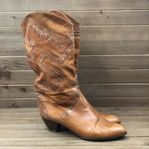Arola Mid Calf Leather Embossed Soft Leather Boots