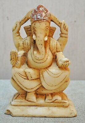 Original Old Antique Hand Carved Fine White Marble God Ganesha