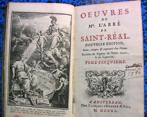 1740-LETTRES-CICERON-A-ATTICUS-SAINT-REAL-GRECE-GRAVURES-LIVRE-BOOK-ANTIQ-ITALIE