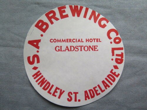SA BREWING Co COMMERCIAL HOTEL GLADSTONE BEER KEG LABEL c1970s SOUTH AUSTRALIA