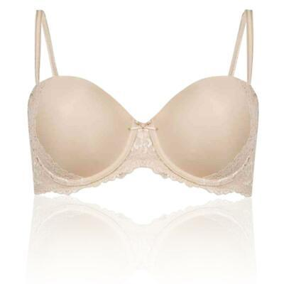 New Ex M/&S Vintage Lace Padded Wired Full Cup T-Shirt Bra Sizes 32-34 A-D Almond