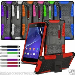 new style 9bd7a 22f31 Details about Anti Shock Proof Dual Layer Kick Stand Builder Case✔Sony  Xperia Z2