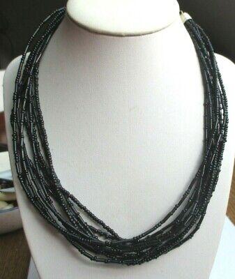 Joli Collier Réglable 10 Rangs Perles Noires Brillante Résine Bijou Vintage 57