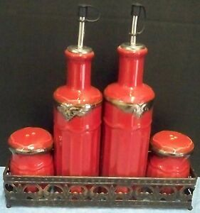 5 Piece Red Pottery Vinegar & Oil Cruets and Salt & Pepper Shakers in Metal Rack