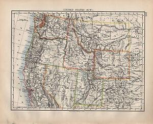 1900-Victoriano-Mapa-Estados-Unidos-Norte-Oeste-Nevada-Utah-Wyoming-Idaho