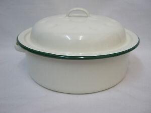 New-Victor-Cream-Enamel-Round-Roaster-Roasting-Baking-Dish-Tin-Green-Trim-20cm