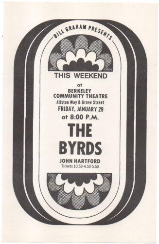 NICE MINT '71 THE BYRDS BERKELEY COMMUNITY THEATRE FILLMORE ERA CONCERT HANDBILL