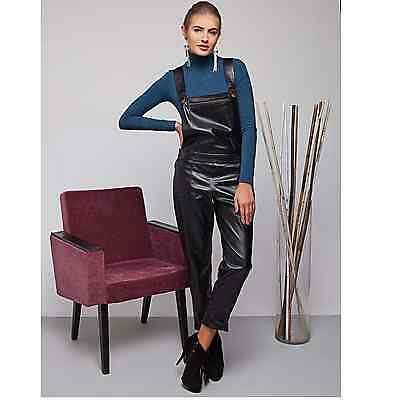 BEST SELLER! Womens black faux leather dungarees overall jumpsuit + UK size 8-14