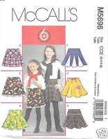 M5696 Girls/childs 6 Yoked Skirts Sizes 3-6 Mccalls Pattern 5696