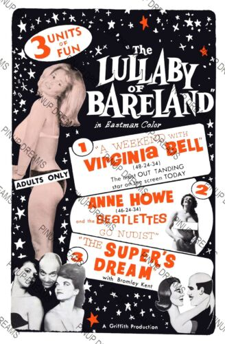 """Classic Vintage Burlesque Poster /""""Lullaby of Bareland/"""" re-print,Virginia Bell"""