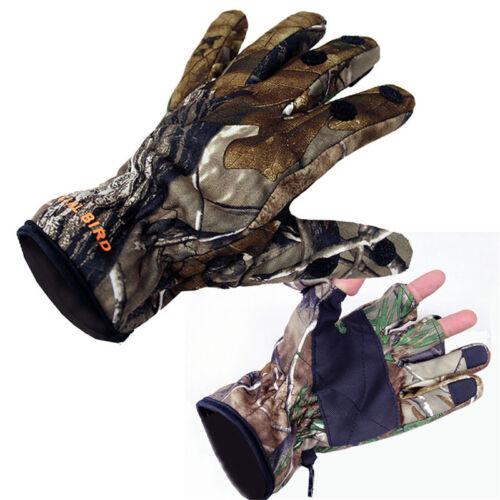 Men/'s Full Finger Hunting Gloves Bionic Camo Winter Warm Fleece Shooting Golves