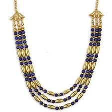 """Gold Plated Lapis Egyptian Cleopatra Triple Strand Necklace 18"""" & Earring Set"""