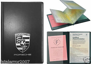 etui porte carte grise permis de conduire porsche pochette rigide ebay. Black Bedroom Furniture Sets. Home Design Ideas
