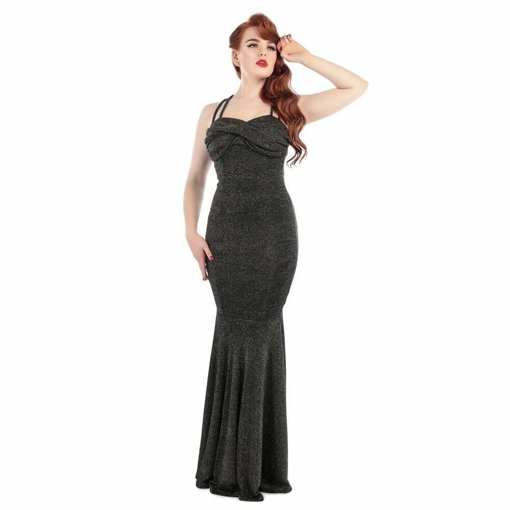 Collectif Vintage Serina Lurex Fishtail Dress Black/Gold