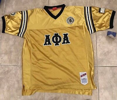 Alpha Phi Alpha Fraternity Mens New Football Jersey Black//Gold