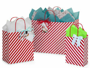 RED-STRIPE-Design-Party-Gift-Paper-Bag-ONLY-Choose-Size-amp-Pack-Amount