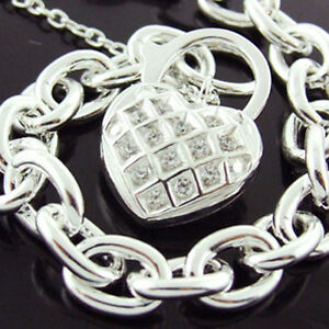 BRACELET-GENUINE-REAL-925-SOLID-STERLING-SILVER-DIAMOND-SIMULATED-PADLOCK-DESIGN