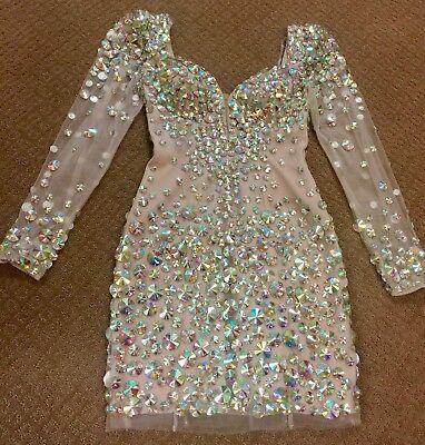 SHERRI HILL 2946 GOLD NUDE MULTI JEWELED SHORT COCKTAIL EVENING DRESS 2