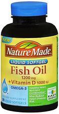 Nature Made Fish Oil 1200 mg + Vitamin D Liquid Softgels 90 Soft Gels (2 pack)