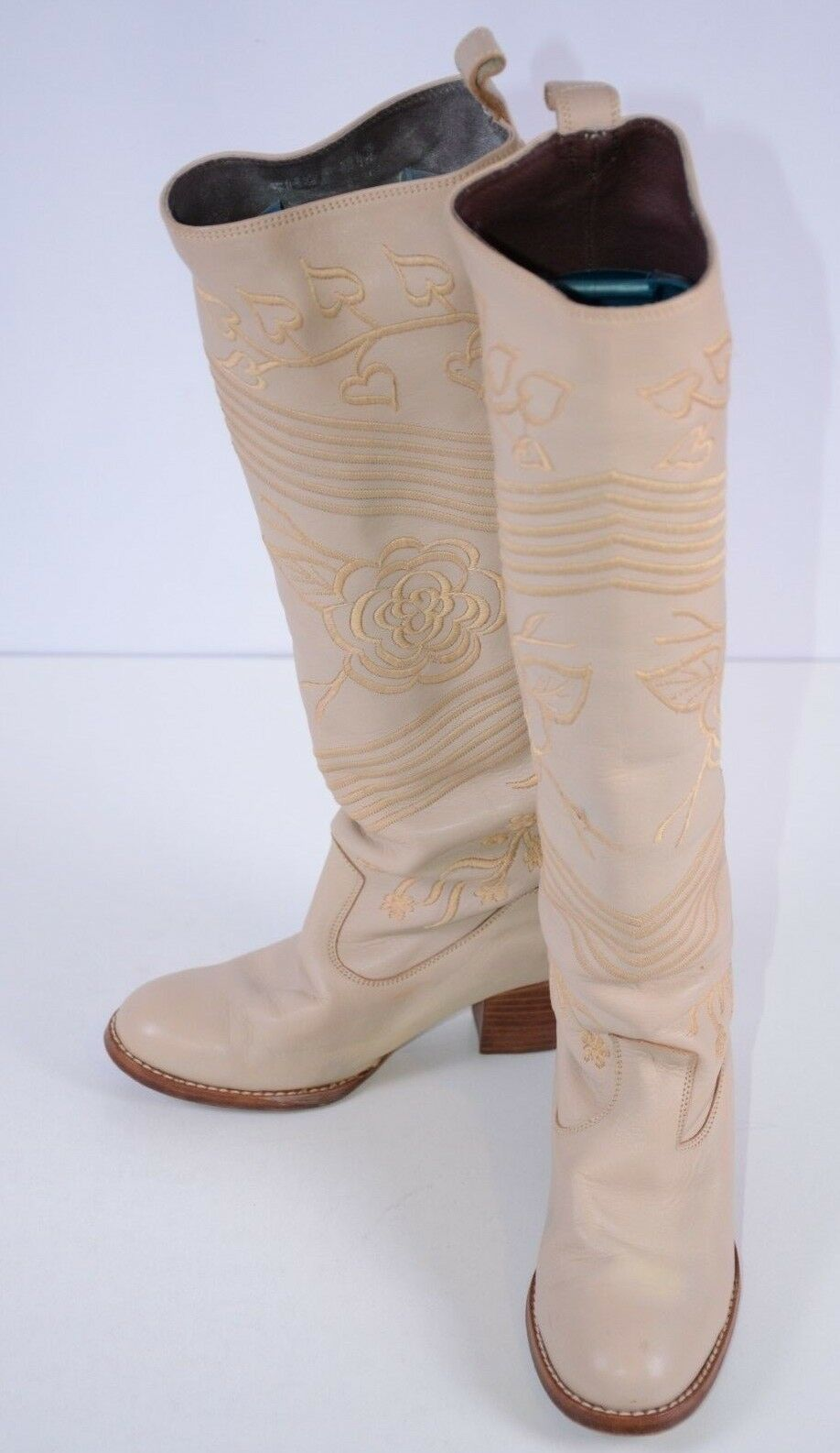shoes Biz Women's Embroidered Leather Boots Size 7 Knee High Boho Slip On Floral