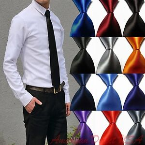 Hot-Solid-Plain-Classic-100-New-Silk-Jacquard-Woven-Necktie-Men-039-s-Tie