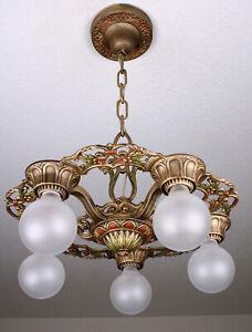 ANTIQUE VINTAGE Virden Art Deco Plafonnier Luminaire Lustre ~ 2 disponible
