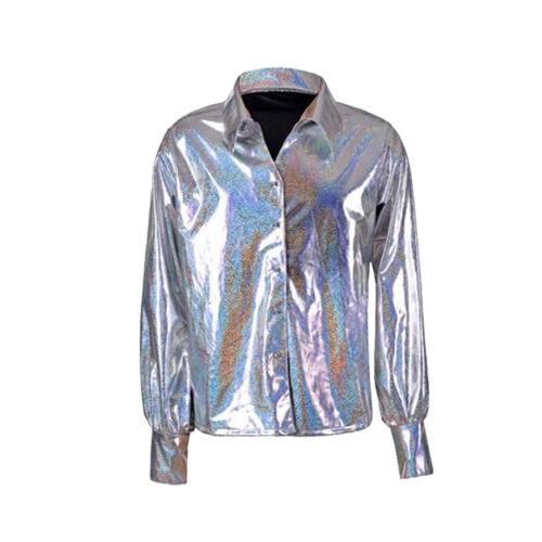 Unisex Men/'s 70/'s Style Disco Shirt Metallic Shiny Festival Fancy Dress Costume