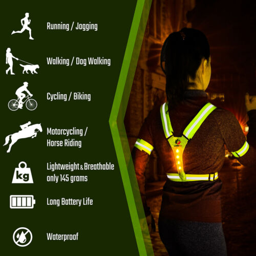 LUMEFIT High Visibility Vest Reflective Running Cycling LED Vests with Armbands