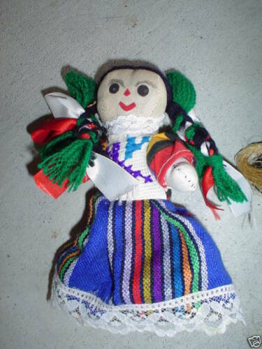 Vintage 1950s Jointed Cloth Ethnic Girl Doll LOOK