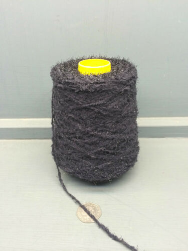 200G CONE 100/% NYLON BLACK SOFT GLITTERY YARN 2.2NM FD941