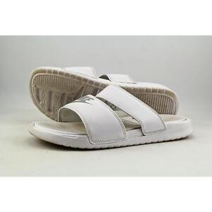 3ae2aa48556c Womens 10 Nike Benassi Duo Ultra Slide Sandal Slip on White Silver ...