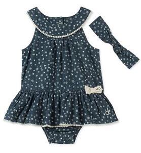 2f8227795f88 Calvin Klein Infant Girls Sunsuit W Headband Size 0 3M 3 6M 6 9M 12M ...