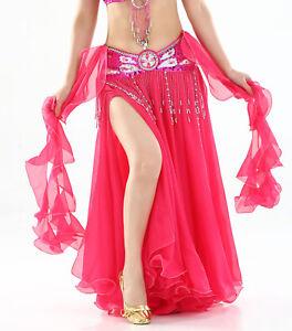 b0bea86a8 New Belly Dance Costume Chiffon Skirt Double Slit Long Skirt/Dress ...