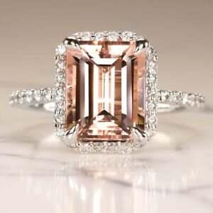 3Ct-Emerald-Cut-Peach-Morganite-Halo-Diamond-Engagement-Ring-14K-White-Gold-Over
