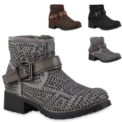 Damen Biker Boots Strass Stiefeletten Nieten Schnallen 811957 Trendy Neu