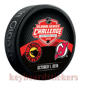 the latest 7591b ad4d0 Details about 2018 Global Series Challenge Switzerland Dueling Puck New  Jersey Devils SC Bern