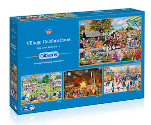 NEW-Gibsons-Village-Celebrations-by-Trevor-Mitchell-4-x-500-piece-jigsaw-puzzle