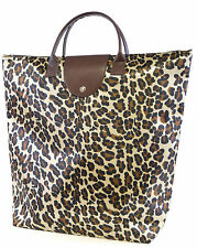 LADIES WOMENS LEOPARD FOLDING FOLDABLE TOTE SHOPPER SHOPPING BAG FOR LIFE
