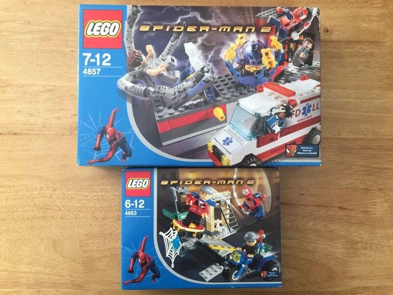 Lego Spindelmannen 4853 4857 Sällsynt Pensionerad.Ny.Några små foton på hyllan