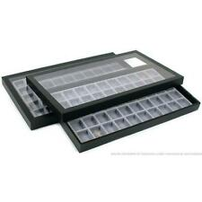 2 50 Compartment Gray Jewelry Display Acrylic Lid Case