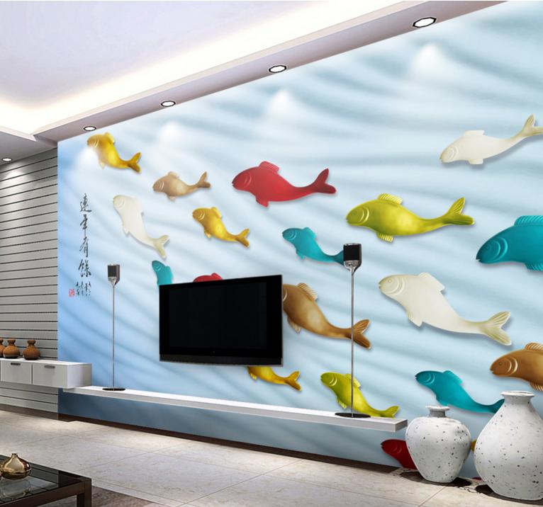 3D Bunte Fische 754 Tapete Wandgemälde Tapete Tapeten Bild Familie DE Summer