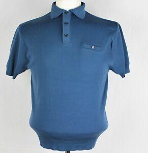 Ban-lon Tricot 1960s / Années 70 Polo Bleu Taille M 99.1cm-102cm 160 P