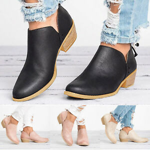 Details about Womens Cut Out Low Heel Ankle Booties Round Toe Boots Back  Zipper Slip On Shoes