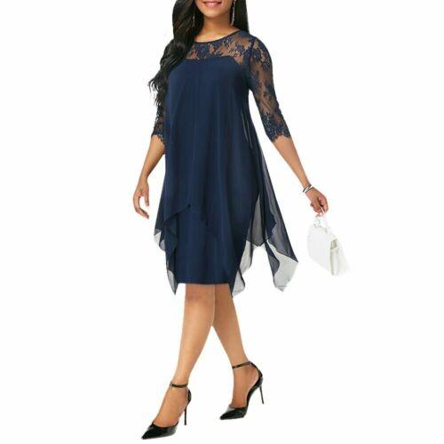 Women/'s Plus Size Irregular Hemline Loose Chiffon Lace Party Evening Midi Dress